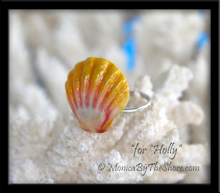 "Hawaiian Sunrise Shell Fine Silver Ring Custom for ""Holly"""