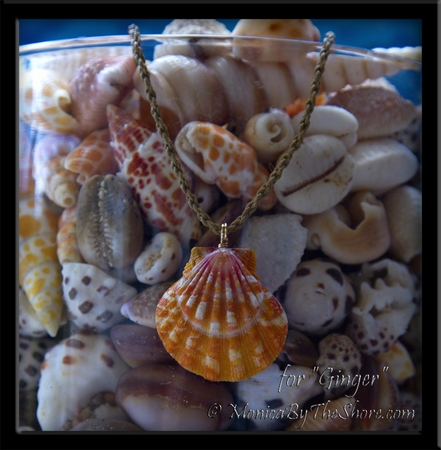 "Custom Hawaiian Sunrise Shell on Twisted Cord Necklace for ""Ginger"""