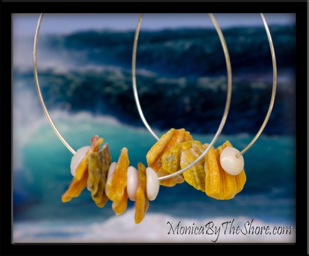 Giant Silver Hoop Sunrise Shell Chips & Puka Shells Earrings