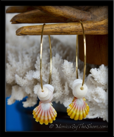 "Gold ""Big Hoop"" Hawaiian Sunrise Shell & Puka Shells Earrings"