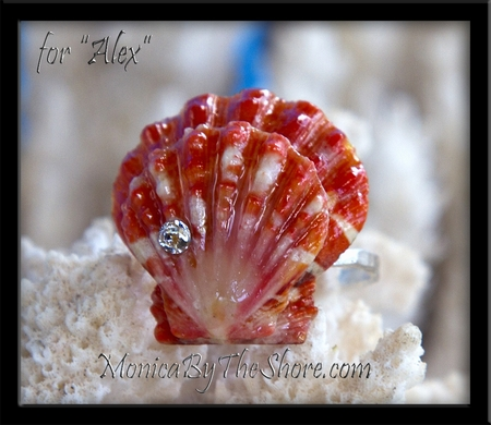 "Custom Double Red Sunrise Shells Engagement Ring for ""Alex"""