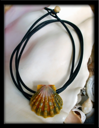 Green Pink Orange Hawaiian Sunrise Shell Bracelet Anklet Necklace
