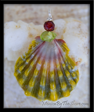 Green Pink Peridot & Garnet Hawaiian Sunrise Shell Pendant