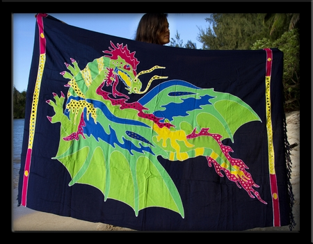 Bali Batik Flying Dragon Sarong with Cutouts & Embroidery