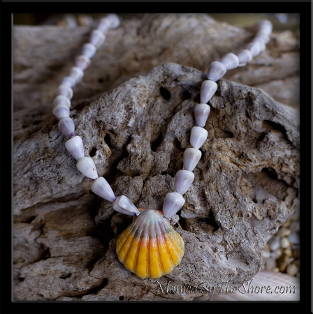 Multi Color Hawaiian Sunrise Shell & Tiny North Shore Cone Shell Necklace