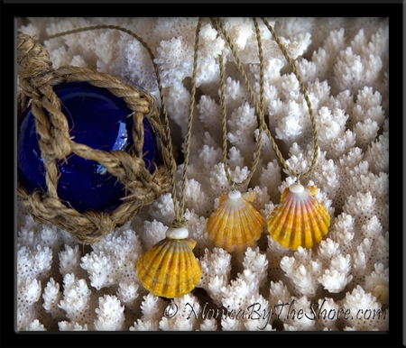 "Colorful ""Country Style"" Hawaiian Sunrise Shell & Puka Shell Twisted Cord Necklace"
