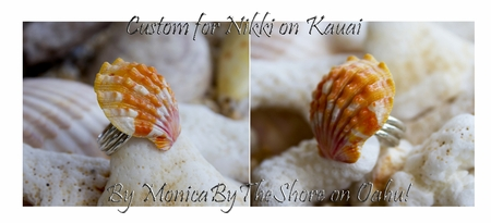 Custom for Nikki Sunrise Shell & Sterling Silver Pendant Sized Sunrise Shell Ring