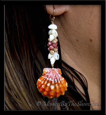 Kahelelani and Momi Shells with Bright Orange Sunrise Shells Gold Earrings