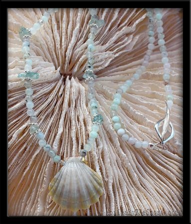 Aquamarine Sunrise Shell & Chrysoparse Necklace