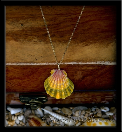 Hawaiian Sunrise Shell Pink Green & Yellow Pendant on Gold Chain Necklace