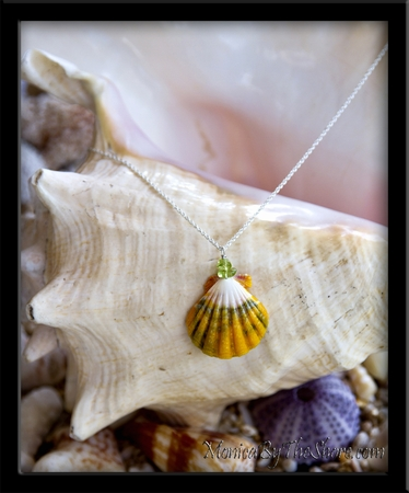 White Green & Gold Hawaiian Sunrise Shell & Peridot Gemstone Silver Chain Necklace