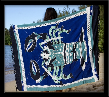 Bali Batik Blue Lobster Sarong with Cutouts & Embroidery