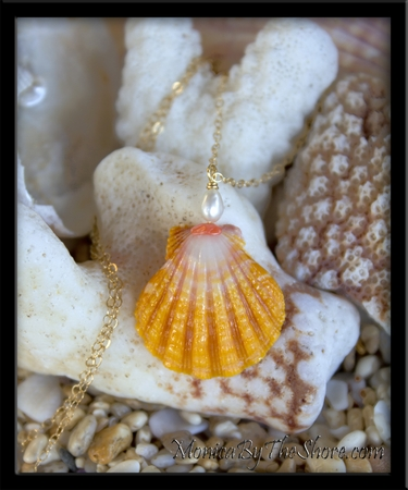 Hawaiian Sunrise Shell, Pearl & Pink Coral Gold Necklace & Hoop Earrings Set