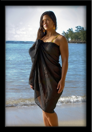 Bali Sheer Full Sarong Black with Embroidery