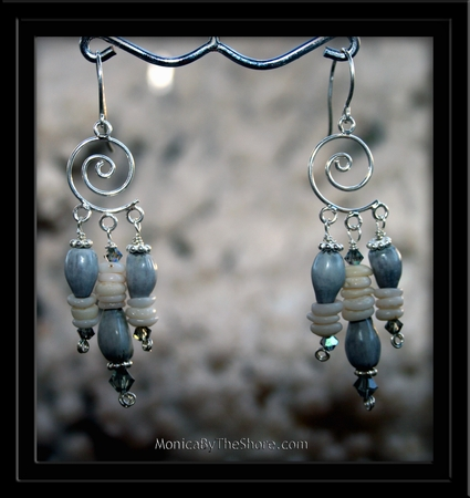Job's Tears Puka Shell & Swarvoski Crystal Earrings
