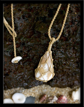 Rat Cone Shell Fishermans Net Pendant Necklace