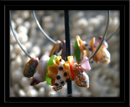 Ke Iki Beach Rainbow Seashell & Seaglass Big Hoop Earrings