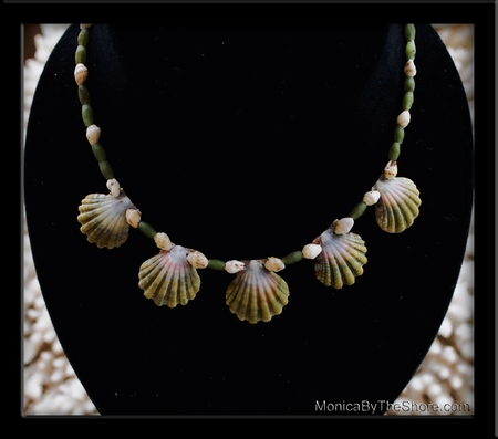 5 Rare Green Sunrise Shells, Jade Bead & Momi Shell Choker Necklace