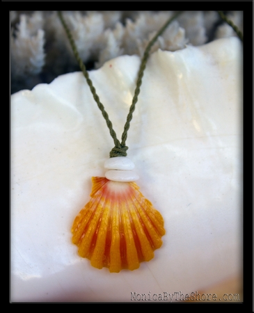 Country Yellow & Pink Sunrise Shell & Puka Shell Necklace