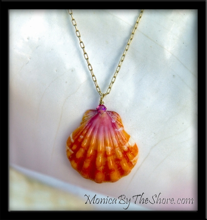 Bright Pink & Orange Hawaiian Sunrise Shell & Swarovski Crystal Gold Chain Necklace
