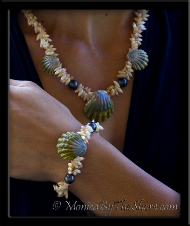 "Hawaiian Sunrise Moonrise Shell, Tahitian Black Pearls & Arutua Shells 3 Piece Set Custom for ""Melissa"""