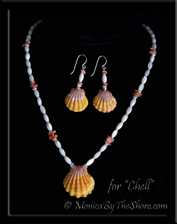 "Custom for ""Chell"" for Valentines Day, Sunrise Shells Necklace & Earrings Set"