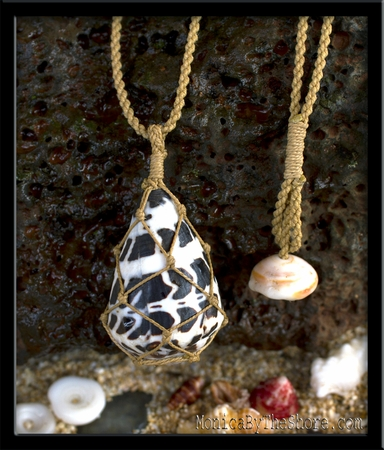 Hawaiian Hebrew Cone Shell Fishermans Net Pendant Necklace