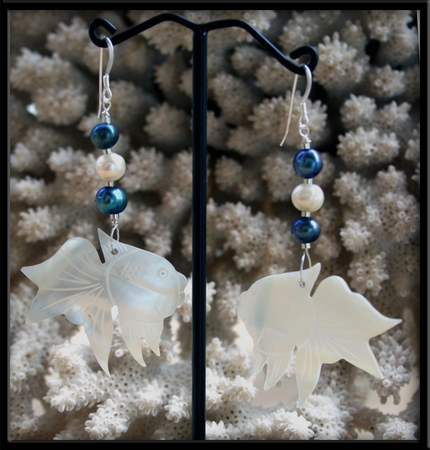 Mother of Pearl Koi Fish & Fresh Water Pearl Earrings