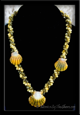 Twisted Tahitian Mongo Shells & Hawaiian Sunrise Shell Lei Necklace