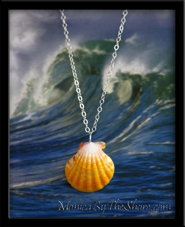 Bright Yellow Hawaiian Sunrise Shell Silver Chain Necklace