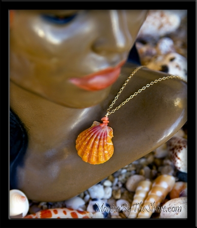 Coral & Pink Hawaiian Sunrise Shell Gold Chain Necklace