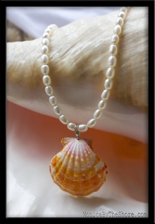 Classic Pearl & Hawaiian Sunrise Shell Necklace