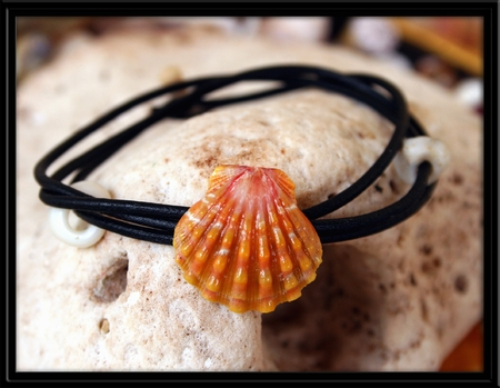 Orange Pink Sunrise Shell Naturalist Bracelet