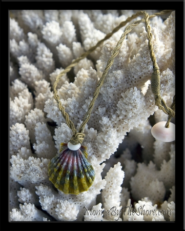 "Custom ""Moonrise"" Green & Pink Hawaiian Sunrise Shell Twisted Cord Necklace"