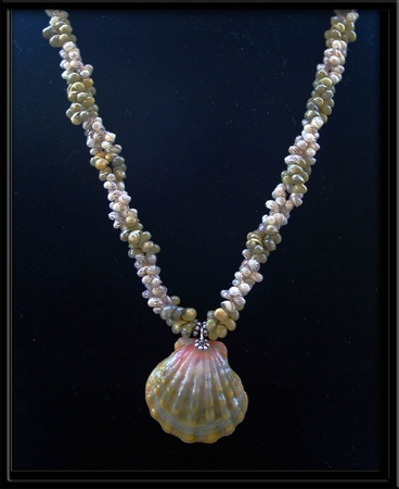 Green Pink Sunrise Shell Momi & Mongo Shell Necklace