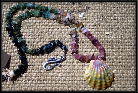 Green Pink Sunrise Shell & Tourmaline Necklace
