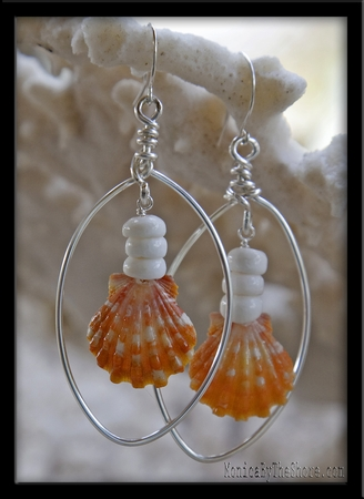 Orange Sunrise Shell & Puka Shell Hoop Earrings