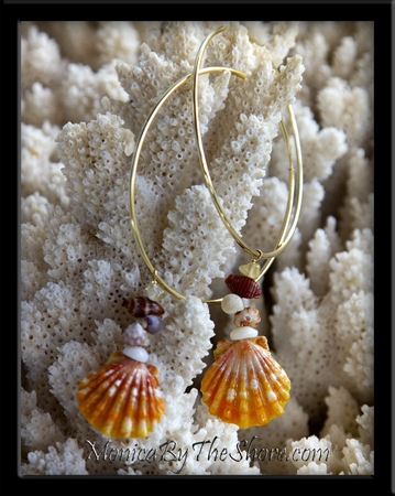 Big Gold Hoop Sunrise Shell & Seashell Earrings