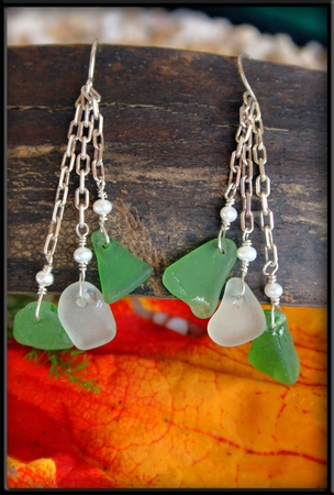 Seaglass, Chains & Pearl Earrings