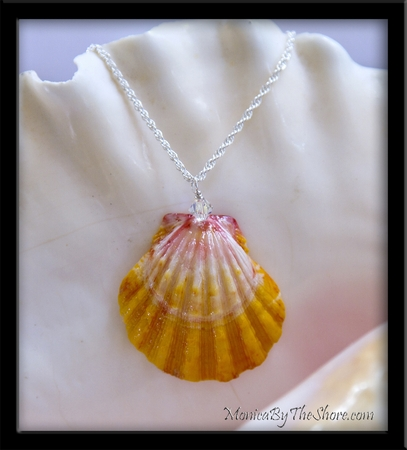 Bright Yellow White & Pink Hawaiian Sunrise Shell & Crystal Princess Necklace