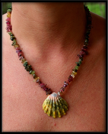 Green Pink Gold Sunrise Shell and Tourmaline Necklace