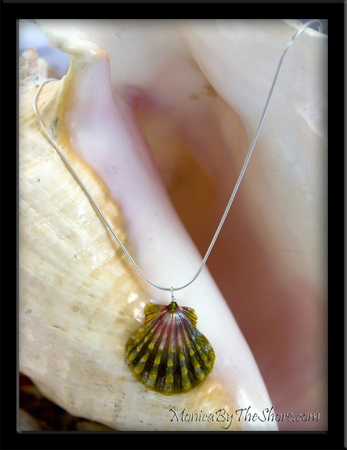 "Pink & Green Hawaiian ""Moonrise"" Sunrise Shell Silver Snake Chain Necklace"