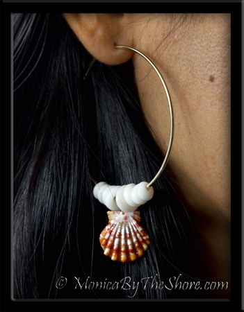 Sunrise Shell & Puka Shells Big Gold Hoop Earrings