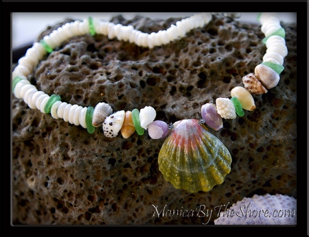 "Green & Pink Sunrise Shell ""Beach Candy & Sea Glass Love"" Puka Shell Necklace"
