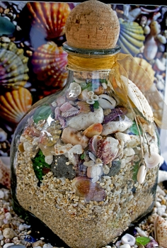 Beach in a Bottle Patron Shells, Beach Sand, & Seaglass