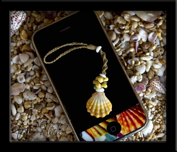 Happy Birthday Hidekazu! Custom Sunrise Shell Necklace & Cell Phone Strap
