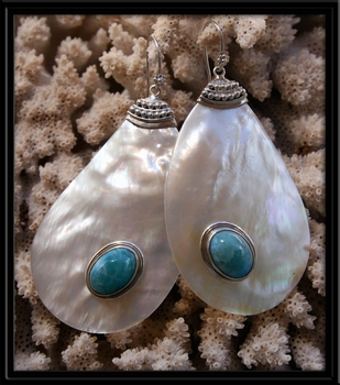 Larimar Stone & Mother of Pearl Drop Earrings