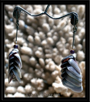 Purple Periwinkle & Puka Shell Drop Post Earrings