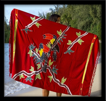 Bali Batik Toucans Sarong with Cutouts & Embroidery