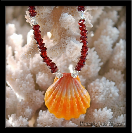 Red Garnet & Classic Sunrise Shell & Crystals Necklace